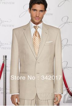 Tan tux for the groom and groomsmen Tan Tuxedo Wedding, Formal Tuxedo, Groom Tuxedo, Tuxedo Suit, Wedding Groom, Wedding Suits, Formal Wear, Wedding Tuxedos, Wedding Attire