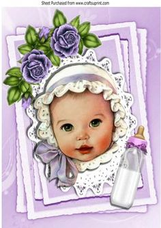 Baby girl in purple bonnet on lace topper with roses A4 on Craftsuprint - Add To…