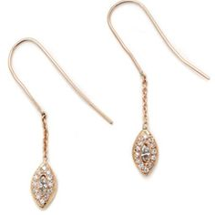 Elisa Solomon Jewelry 18 karat pink gold marquis leaf earrings with diamonds, available at elisasolomon.com
