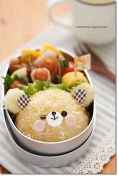 Fluffy bear bento   #food #bento #lunchbox #kawaii #bear