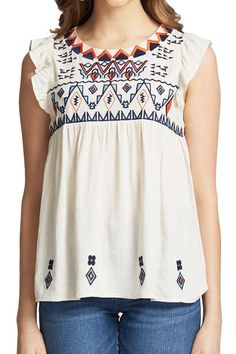 THML Cream Top with Navy/Orange Embroidery