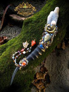 Magic Crystal Wand Spirit Quartz Pyrite Rose by SpinningCastle