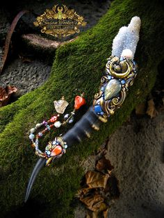 Magic Crystal Wand Fossil Coral Labradorite Blue Chalcedony Carnelian Pagan Altar Reiki Ritual Wiccan Blesbok Horn Magick by Spinning Castle...