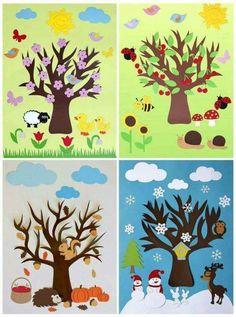 Season art activities for preschool Decoration Creche, Class Decoration, School Decorations, Preschool Crafts, Preschool Activities, Tree Crafts, Paper Crafts, Art For Kids, Crafts For Kids