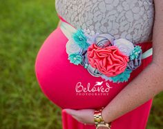 Vibrant Pink and Gray Maternity by LaBandeauxBowtique on Etsy