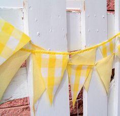 Vintage Gingham Sunshine Yellow Party Bunting @Ruthie Prasil @Amber Maskolunas