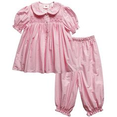 Girls traditional pink and white striped cotton hand-smocked pyjamas with comfortable elasticated waist.  The pyjamas have beautiful hand-smocking at the chest, sleeve and leg cuffs with embroidered pink flowers.  A charming round collar with piping on the edges, and cloth buttons are additional special details.