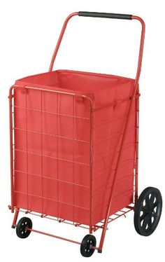 Sandusky FSC4021 Folding Shopping Cart, 110 lbs Capacity - The Sandusky FSC4021 folding shopping cart has a handle, a steel frame, a liner, and four caster wheels, and can be folded for storage. This utility cart is made of steel, which is resistant to wear and corrosion. The red powder-coated finish resists scratches, chipping, fading, and other wear. T...