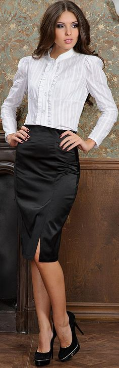 <3 the classic black pencil skirt with white blouse combo