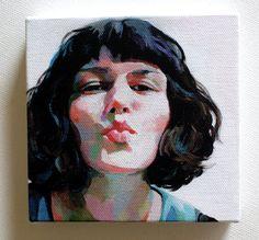 Jenny / Tiny canvas print Portrait print painting by tushtush