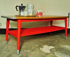 Put your little socks on! - upcycled retro coffee table