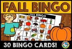 Are you looking for fun Autumn/ Fall activities? Look no further! This resource is perfect to practice and revise Autumn/ Fall vocabulary in an interactive and fun way!  This Fall bingo game contains 30 different bingo cards, each containing 25 Fall images. There is a set of calling cards, containing 25 cards with both words and pictures.