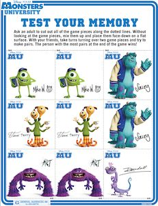 Monsters University - Test Your Memory Game