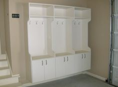 Garage mudroom cabinets hung off the floor to avoid moister. Great for shoes coats book bags etc Mud Room Garage, Mudroom Laundry Room, Dream Garage, Mudroom Cabinets, Reno, Home Organization, Home Projects, Sweet Home, New Homes