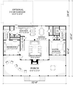 Cabin Style House Plan - 2 Beds 2 Baths 1665 Sq/Ft Plan #137-295 Floor Plan - Main Floor Plan - Houseplans.com