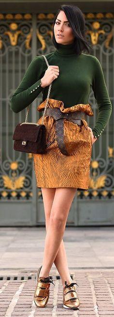 Camel Structured Gathered Waist Midi Skirt