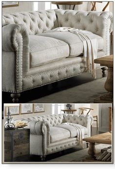 Tufted couch in linen