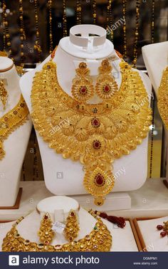 Lush gold necklace Indian style based upon ancient models Gold Souk Deira Dubai United Arab Emirates Middle East Asia Stock Photo Bold Necklace, Fashion Necklace, Pearl Necklaces, Diamond Necklaces, Layered Necklace, Diamond Jewellery, Bridal Jewellery, Fashion Jewelry, Drop Earrings