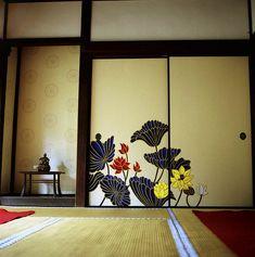 襖絵:蓮 Lotus flower  華頂殿 Kachoden, 青蓮院門跡 Shoren-in temple