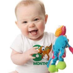 Dinosaur Baby Monthly Onesies - 12 Month Set of Onesies - Perfect Baby Shower Gift by peanutandtheowl on Etsy