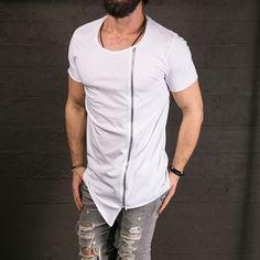 Men's Fashion Show Long T Asymmetrical Side Zipper Big Neck Short Sleeve - Popular