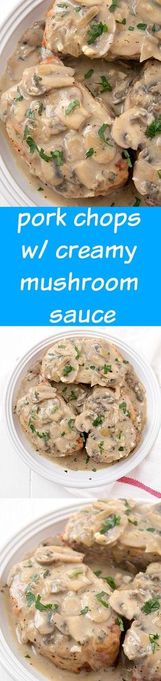 Pork Chops with Creamy Mushroom Sauce: So moist and baked to perfection with an out-of-this-world creamy sauce! Use GF flour Pork Recipes, Slow Cooker Recipes, Crockpot Recipes, Cooking Recipes, Recipies, Chicken Recipes, I Love Food, Good Food, Yummy Food