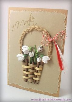 Felicitare de 1 Martie cu ghiocei quilling în coșuleț împletit / Springtime quilling card with snowdrops in a weaved basket Paper Quilling Cards, Neli Quilling, Quilling Craft, Quilling Flowers, Quilling Patterns, Quilling Designs, Paper Flowers, Handmade Birthday Cards, Greeting Cards Handmade