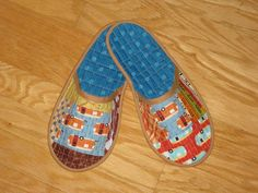 Loving these quilted slippers by Krousegirl2 featuring Roughing It fabric by Laurie Wisbrun