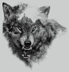 Wolf Collage for t-shirt printing by Eddie Yau Xiong Duo