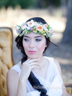 Flower Crown Wedding Hair Accessory Floral Hair Wreath in Peaches and Lavenders Woodland Wedding Headpiece, Flower Wreath Headband