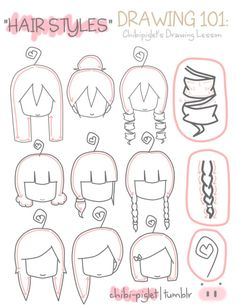 How To Draw Hairstyles, chibi, text, girl, female; How to Draw Manga/Anime by candace Kawaii Drawings, Cartoon Drawings, Easy Drawings, Drawing Lessons, Drawing Tips, Drawing Ideas, Drawing Techniques, Character Drawing, Character Design