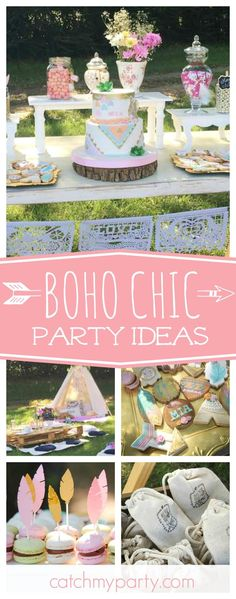 Don't miss this beautiful boho chic birthday party. The outdoor table settings and tents are fantastic!! See more party ideas and share yours at http://CatchMyParty.com