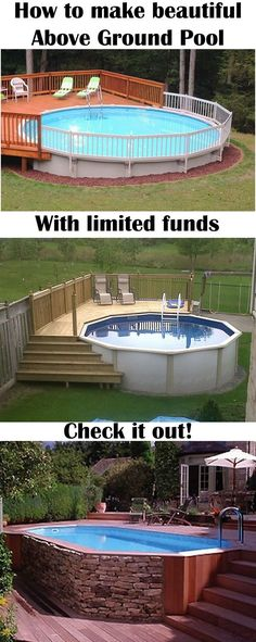 Popular Above Ground Pool Deck Ideas. This is just for you who has a Above Ground Pool in the house. Having a Above Ground Pool in a house is a great idea. Tag: a budget small yards ideas above ground cheap fun Above Ground Pool Decks, In Ground Pools, Square Above Ground Pool, Diy In Ground Pool, Above Ground Pool Landscaping, Above Ground Swimming Pools, Backyard Projects, Outdoor Projects, Backyard Ideas