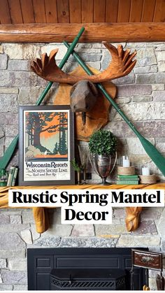 Lodge Style Decorating, Patio Decorating Ideas On A Budget, Lodge Decor, Porch Decorating, Patio Ideas, Rustic Mantel, Rustic Fireplaces, Fireplace Mantle, Rustic Decor