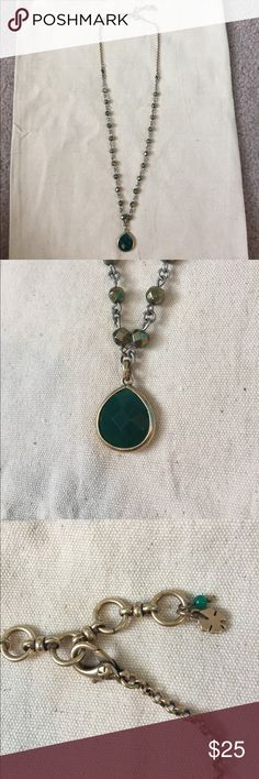 Lucky Brand Necklace Lucky Brand Necklace. Approximately 1 foot in length, with jade colored center stone and bronze accents. Worn twice. Lucky Brand Jewelry Necklaces