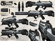 jim murray // Combat Rifle schematic for Deus Ex Mankind Divided. Sci Fi Weapons, Weapon Concept Art, Weapons Guns, Revolver, Cyberpunk, Paintball Gear, Future Weapons, Ex Machina, Military Weapons