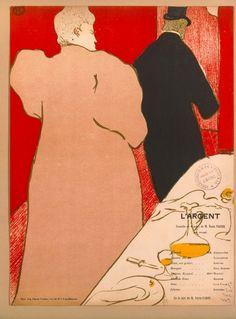 Toulouse Lautrec affiche pour L'Argent pièce d'Emile Bernard, mise en scène d'André Antoine 1895