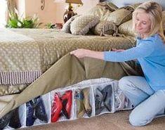 Bed Skirt Shoe Organizer Hidden Storage System - total genius!