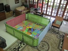 DIY PVC pipe and fabric playpen ... can make it as big as you want to allow for exploration ...