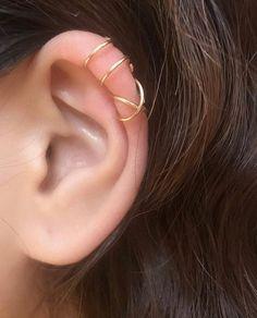Cuff Earrings, Cartilage Earrings, Ear Piercings, Clip On Earrings, Belly Button Jewelry, Ear Jewelry, Jewellery, Gold Earrings For Women, Silver Ear Cuff