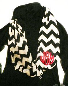 Chevron stripe scarf, Infinity scarf chevron stripe, monogrammed scarf. $26.00, via Etsy.
