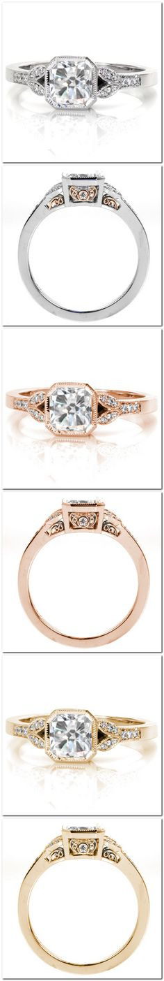 Antique inspiration engagement ring is captured in the finest details of the ring. A milgrain bezel outlines the octagon shape of the radiant cut center stone. Two delicate petals flow down the band and are outlined in micro pavé and milgrain. The 14k rose gold hand wrought filigree creates a stunning two-tone effect. Choose your metal. Click on pin for details.