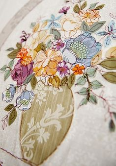 This wallpaper embroidery work was done by Claire Coles. In my indepth anaylsis… Raw Edge Applique, Embroidery Applique, Machine Embroidery, Embroidery Stitches, Textile Patterns, Textile Design, Floral Patterns, Fibre And Fabric, African Textiles