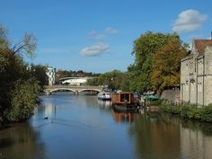 The river medway at Maidstone looking down stream into the town with the Bishops palace on the right [shared]