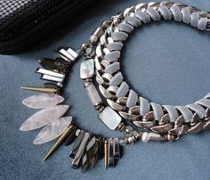 Collana di quarzo rosa / gioielli dichiarazione / collana / alla moda gioielli / unica collana / collana di pietra