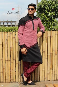 Mens Designer festive cotton pathani suit with collar neck, short button placket and full sleeves and curve hem. Comes with matching bottom. Nigerian Men Fashion, Indian Men Fashion, Mens Fashion Wear, Suit Fashion, Fashion Week, African Attire For Men, African Clothing For Men, African Shirts, Kurta Pajama Men