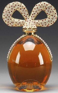 Perfume Bottle; Elizabeth Taylor, White Diamond, Diamonds & Rubies, Swarovski Crystals, Bow Stopper, 11 inch.