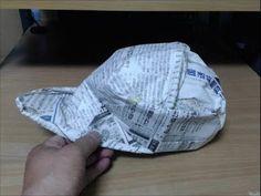 新聞紙でつくるキャップ帽 Newspaper cap - YouTube