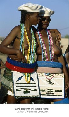 Africa | Two Ndebele initiates attend their Iqhude coming out ceremony. South Africa | ©Carol Beckwith and Angela Fisher