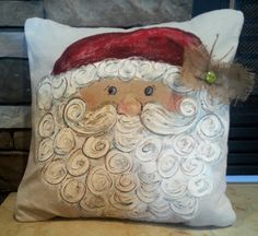 Whimisical Santa Hand-painted Pillow Cover. Pillow cover is hand-painted on medium weight duck fabric and is signed by artisan. Pillow cover is